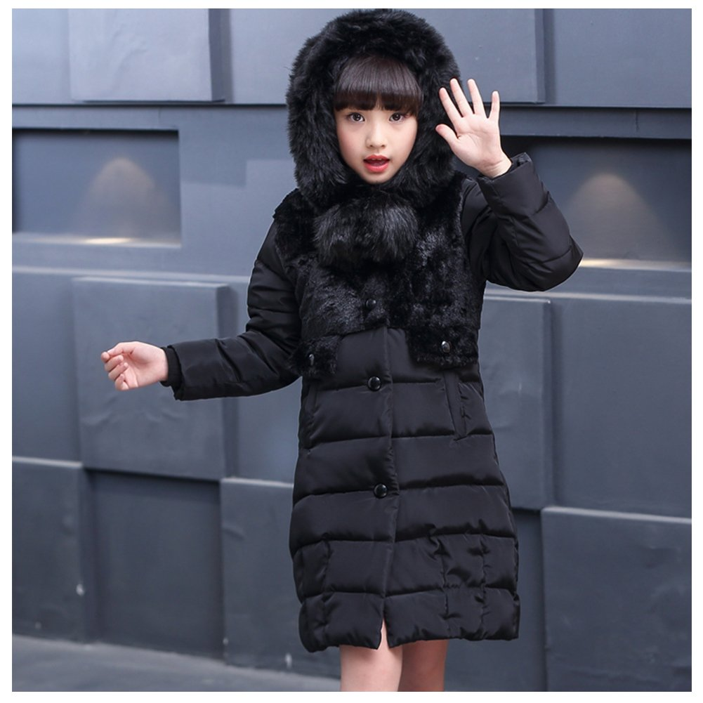 M/&A Kids Girls Hooded Puffer Down Jacket Long Winter Coat Children Outerwear