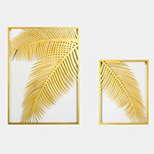 MKUN Set of 2 Iron Wall Sculptures - Metal Wall Decor with Coconut Tree Leaf Great for Home Hotel Bar Decoration (Gold)