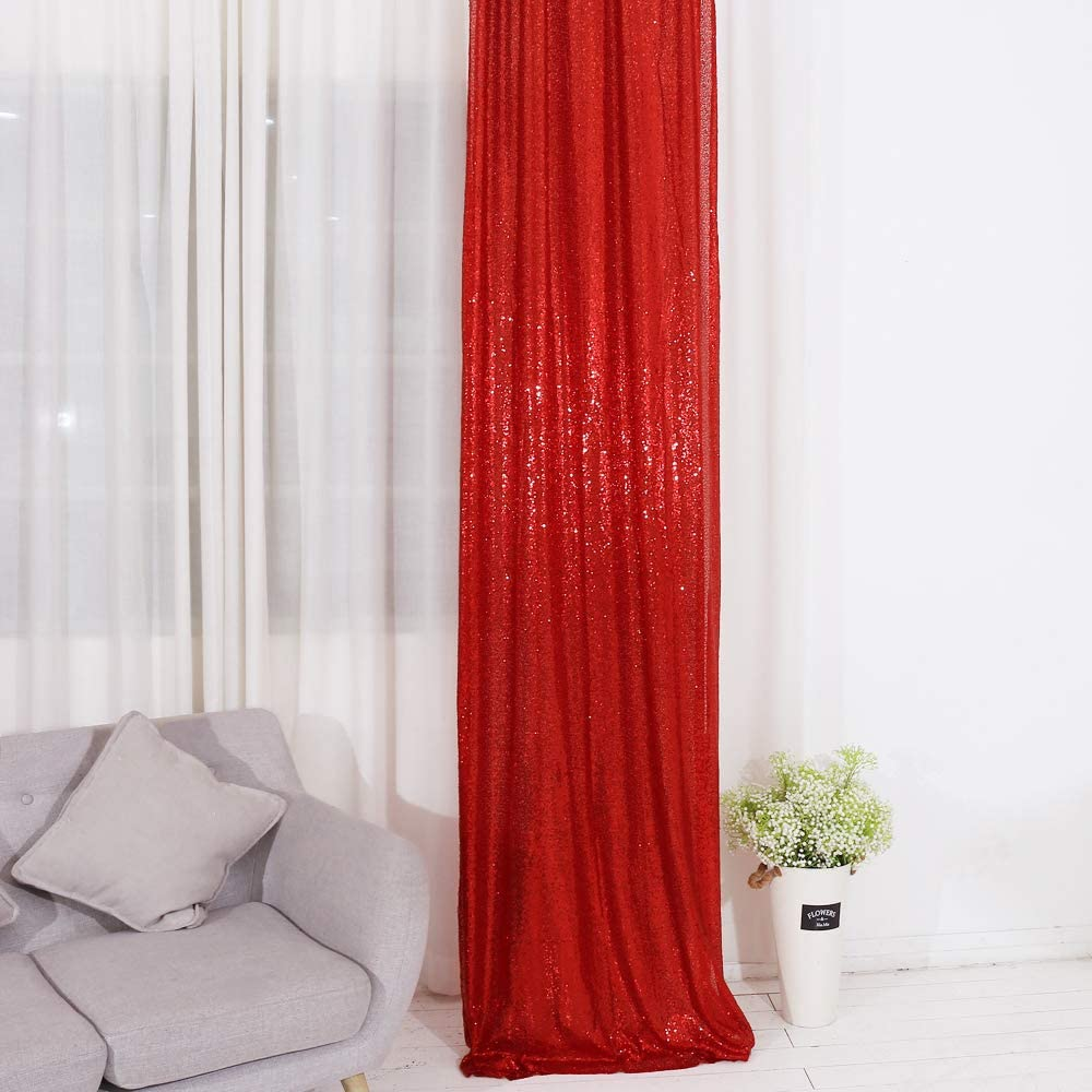 TRLYC Red Shimmer Sequin Fabric Photography Backdrop (2FTX8FT)