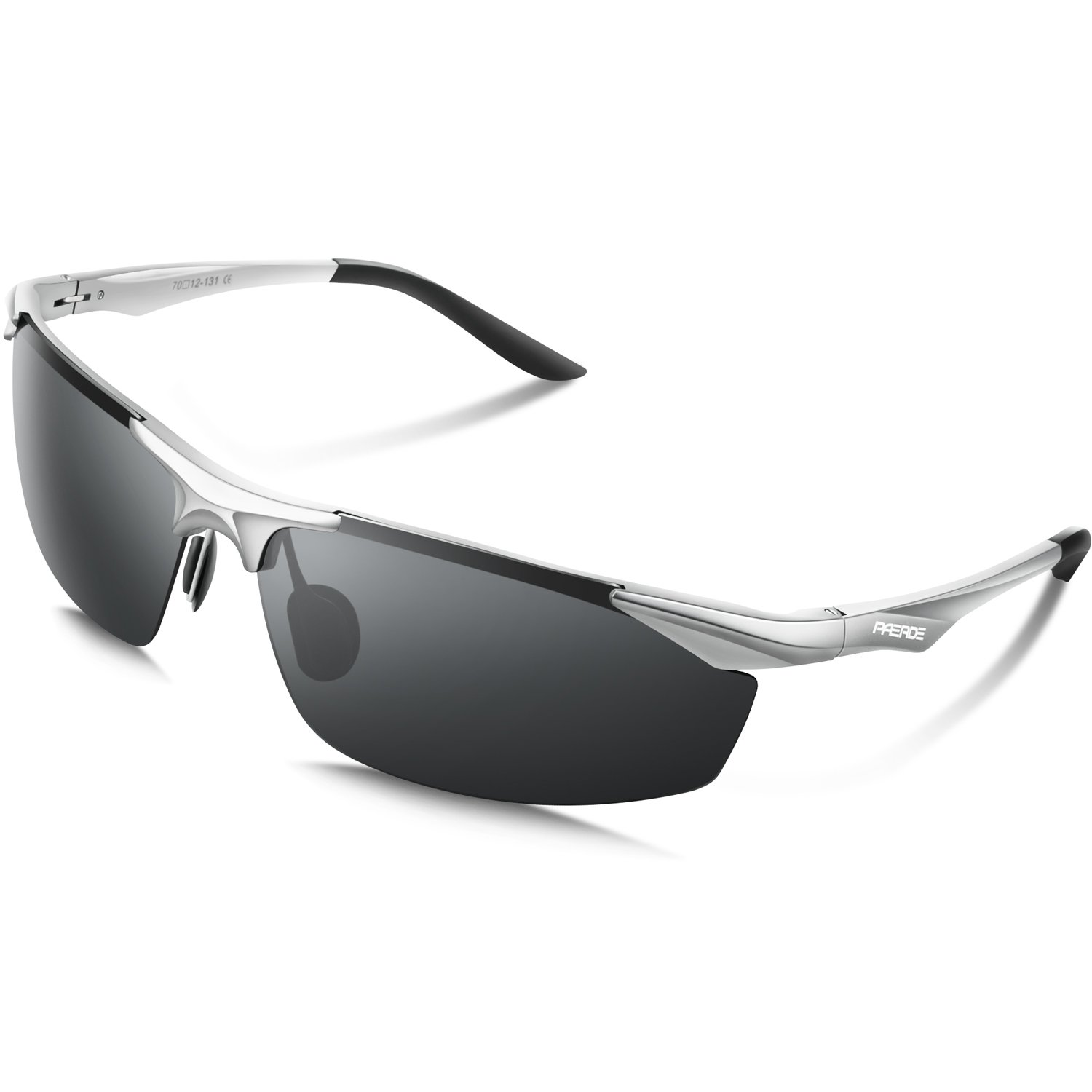 PAERDE Men's Polarized Sports Sunglasses for Baseball Running Cycling Fishing Golf Unbreakable Frame - Metal Frame Al-Mg Glasses (Silver&Black, none)