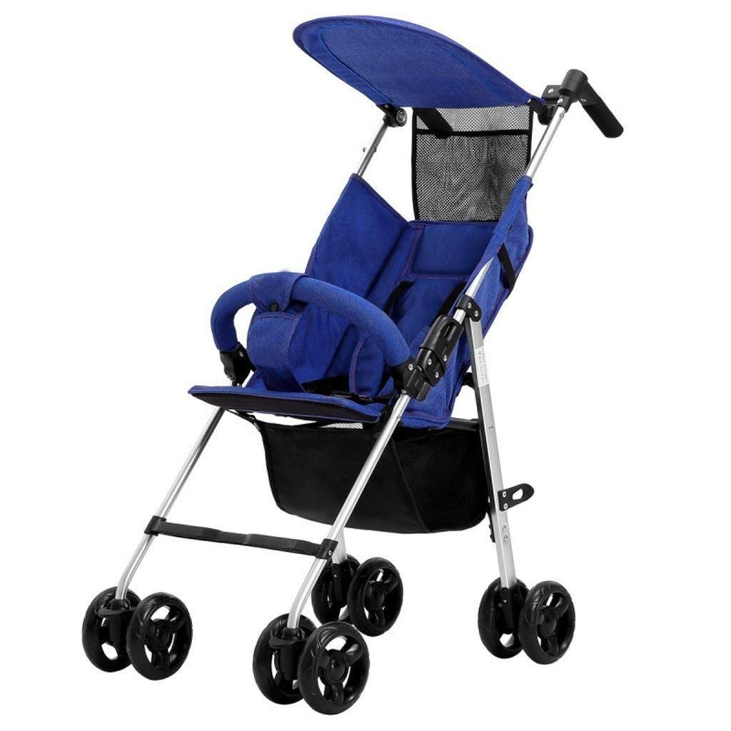 WDOPZMS Baby Stroller for Children - Lightweight Folding Baby Pushchair Travel System - Portable Newborn Infant Jogger Travel Buggy Kid's Stroller, 38 65 102 cm (Color : Blue)