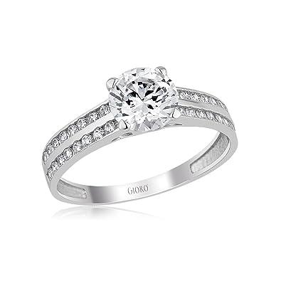 Bague de fiançailles pour femme en Or Blanc  avec cristaux Swarovski