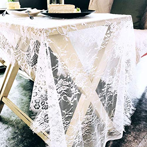 Shabby Chic Bridal Shower - UNIQOOO 29.5 x118 inches Wedding White Lace Table Runner | Rustic Shabby Chic Floral Tablecloth, Table Overlay, Centerpiece | Great for Wedding, Baby Shower, Bridal Shower Party Holiday Decoration