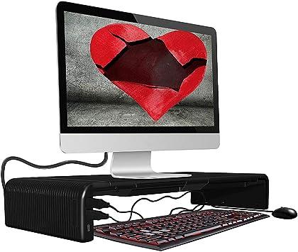DIYOO Soporte Ajustable para Monitor Soporte Monitor PC Inteligente, Amplia Pantalla Elevador para Monitor del Ordenador/Portátil/TV/Impresora, con Funcion de hub, 47cm*20cm*8cm, Negro: Amazon.es: Electrónica