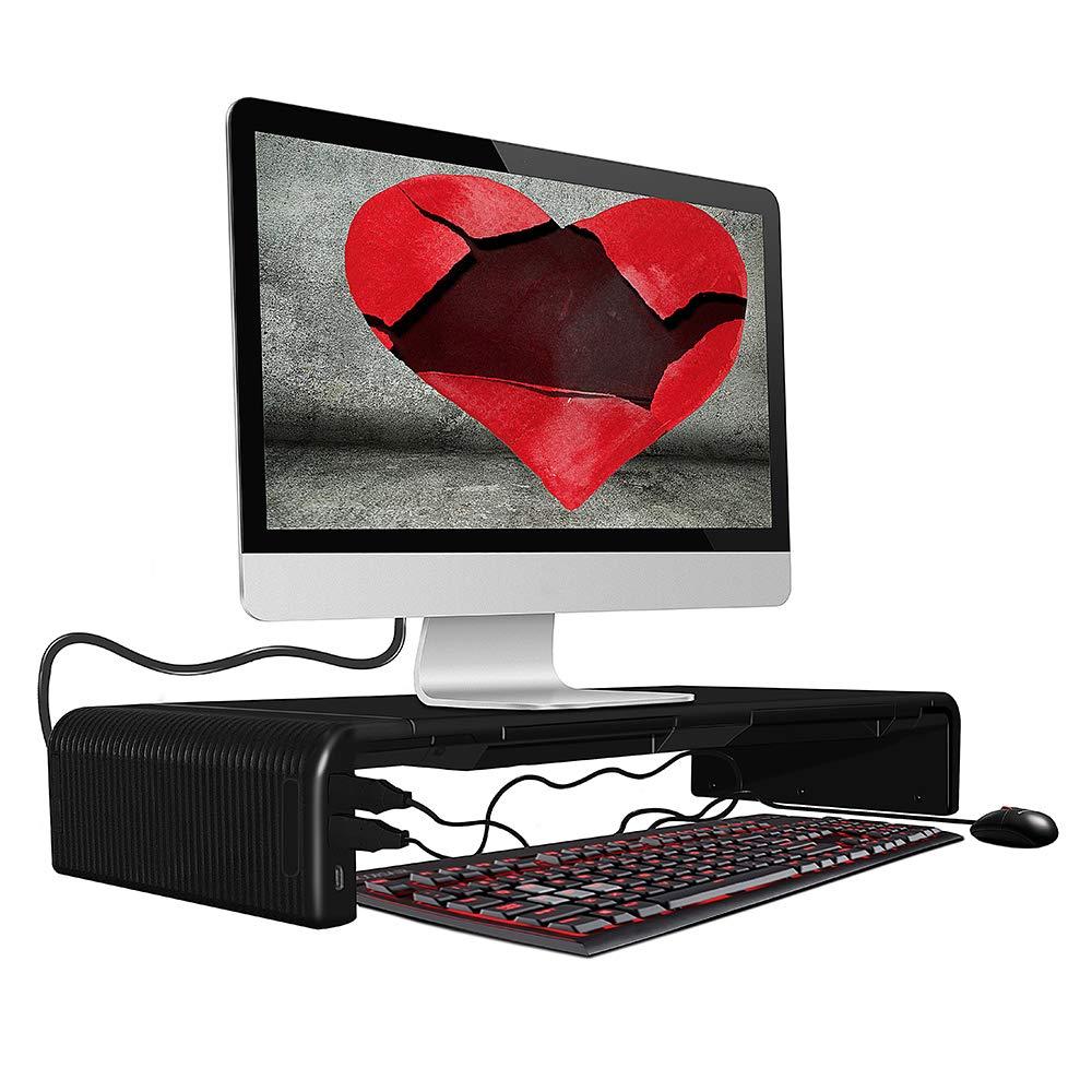 DIYOO Supporto Monitor scrivania Supporto da Tavolo Regolabile per Monitor Schermo Laptop per Monitor/Laptop con USB 2.0 Hub, Supporto per Smartphone, 47cm*20cm*8cm, Nero