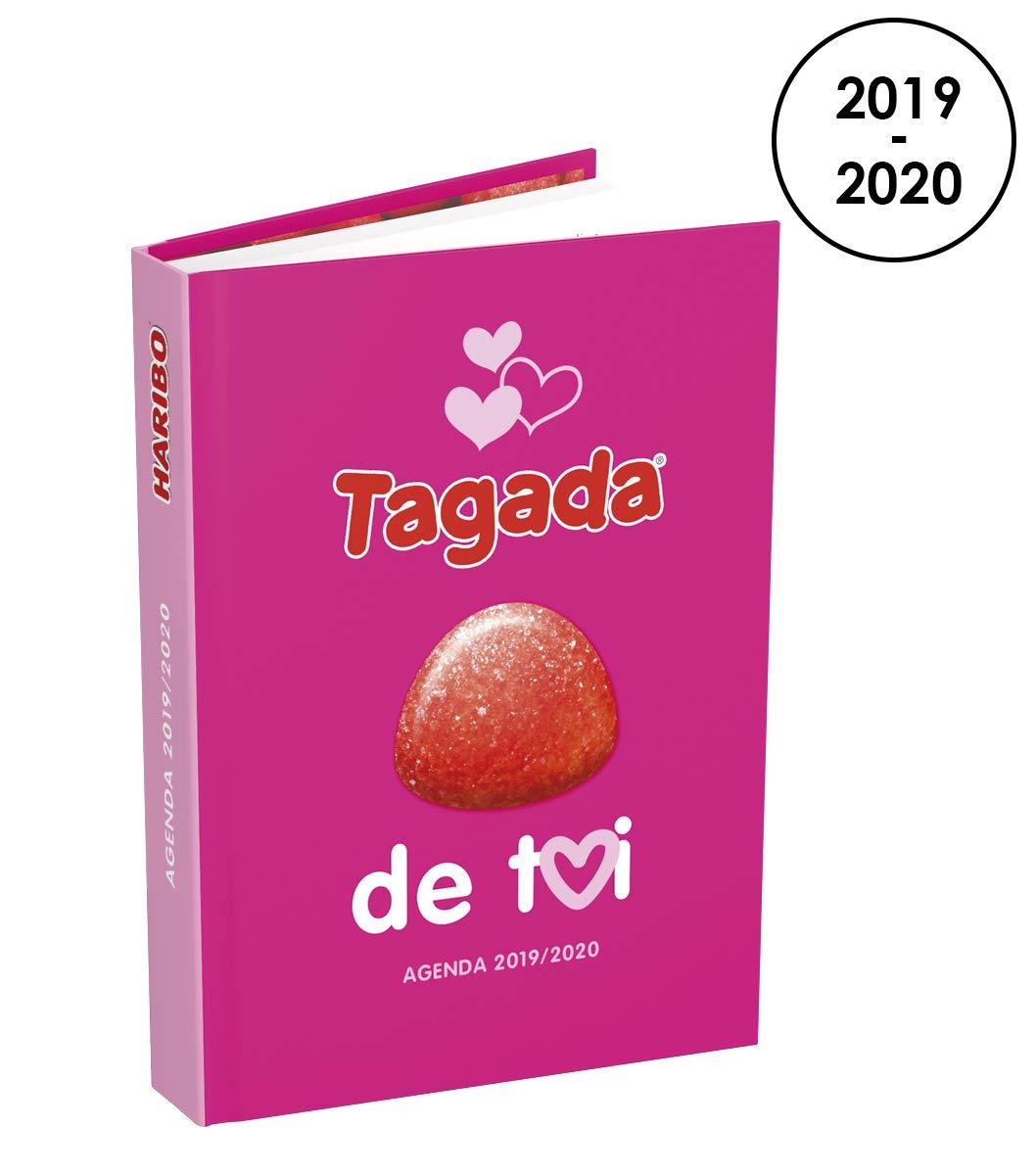 HARIBO Agenda 2019-2020 de Août à Juillet - 1 Jour par Page Format 12x17cm Couverture avec Sticker Parfumé Fraise Tagada