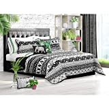 Light Weight Printed & Embroidered 3 Piece QUEEN SIZE Quilt (Black & White, Queen)
