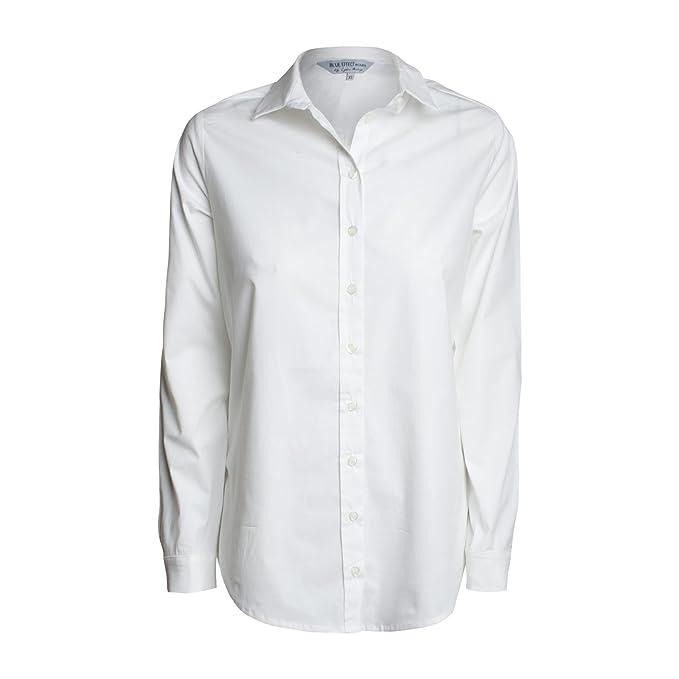 Mao Camisas Larga Blue Básico Effect Manga Blusa Cuello p5S8q