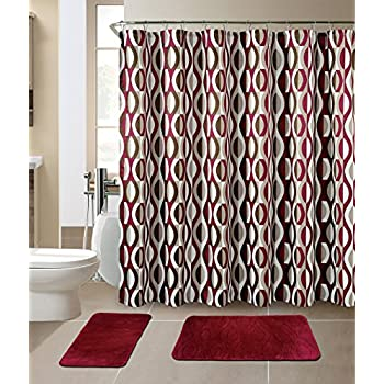 All American Collection New 15 Piece Bathroom Mat Set Memory Foam With Matching Shower Curtain Helix Burgundy