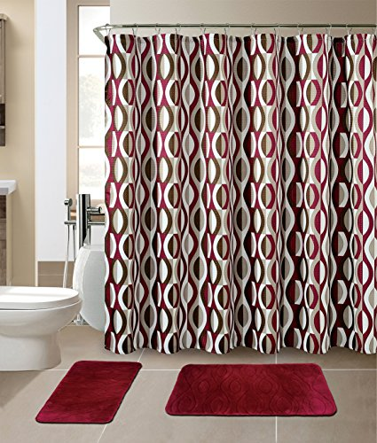 "Luxury Home Collection 15 Pc Bath Rug Set Memory Foam Non-Slip Bathroom Rug Mats And Shower Curtain And Rings"" Hooks"" Solid New (Burgundy)"