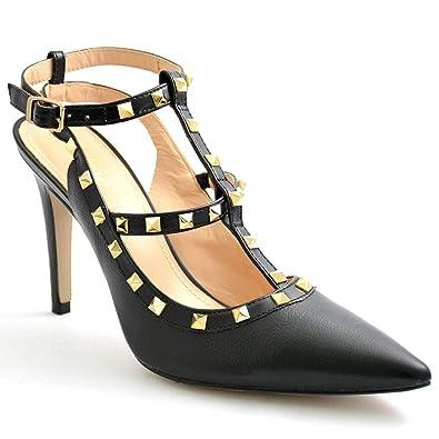 839790914 Chic Shoes Black Grainy Women Stilettos: Amazon.ae