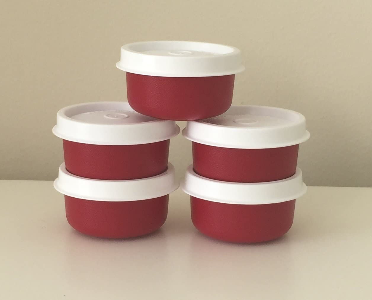 Tupperware Smidgets Container Set of 5 Red NEW