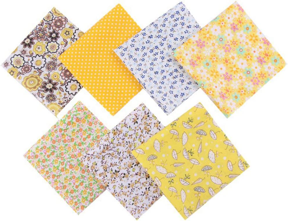 Artibetter 28pcs Fabric Bundles Quilting Fabric Squares Cotton Sewing Patchwork Floral Cloths Sheets for DIY Craft Sewing Crafting Yellow