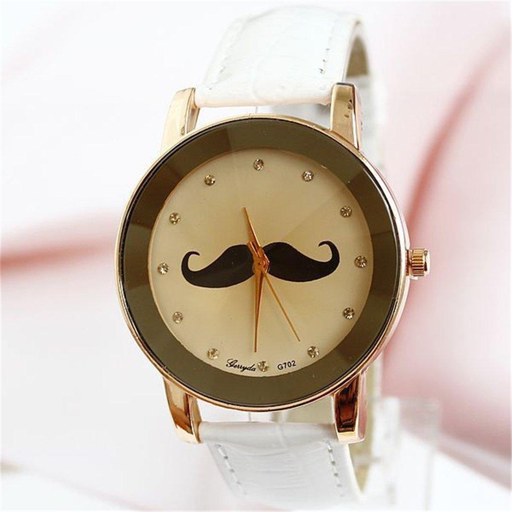 (オンラインで購入しやすいです) BUYEONLINE レディーズビアードレザーダイヤモンドカジュアル腕時計 ブラック B016OFO16I ブラック