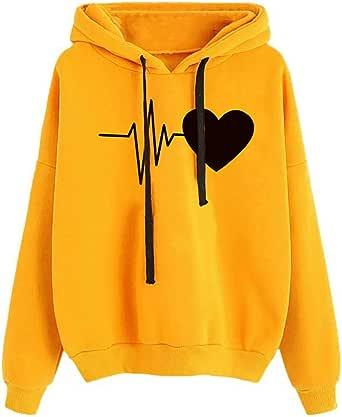Sudadera para Mujer,riou Sudadera con Capucha Adolescentes Chica Estampado Amor Manga Larga Tops Suéter Abrigo Jersey Mujer Otoño-Invierno Camiseta Hoodie Pullover