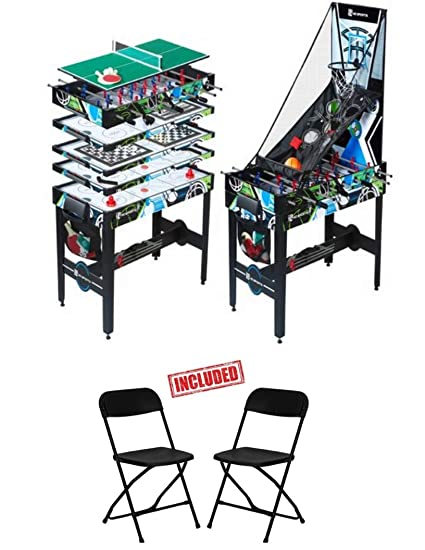48 Inch 12 In 1 Multi Game Table With Air Powered Hockey Knock Hockey Traditional Foosball Basketball Table Tennis Bean Bag Toss Archery Chess