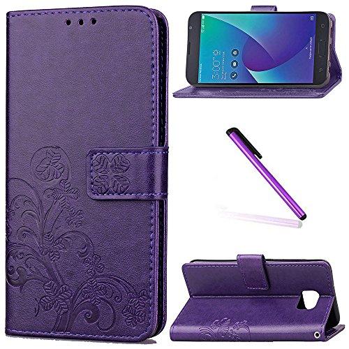 Asus Zenfone V V520KL Case LEECOCO Embossed Lucky Clover Floral with Card Slots Magnetic Flip Stand PU Leather Wallet Case for Asus Zenfone V V520KL with 1 x Stylus Pen Clover Purple ()