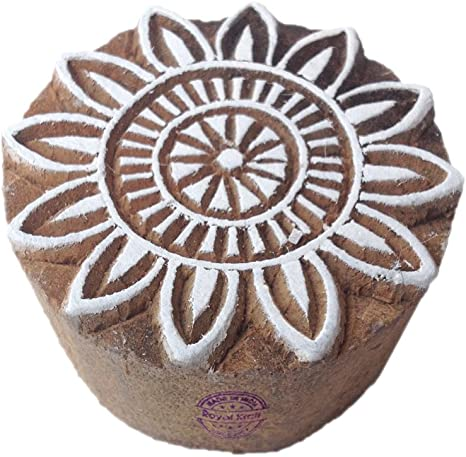 Fabric Textile Paper Pottery Block Printing Stamp Handmade Print Blocks Round Design Shaped Wood Stamps