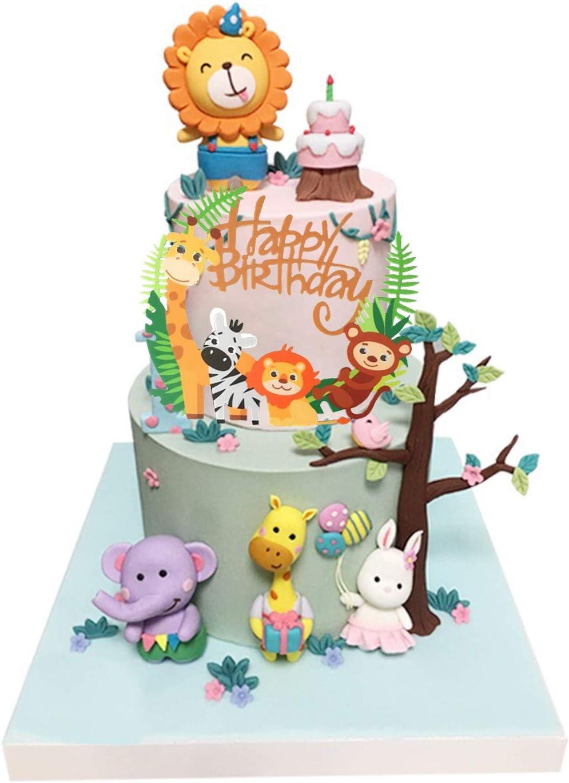 Jungle Theme Tier Cake Topper 1 St/ück Happy Birthday Banner /& 49 St/ück Animal Cupcake Topper Kuchen Dekorationen f/ür Kinder Geburtstag Baby Shower Party Coriver 50 St/ück Cute Zoo