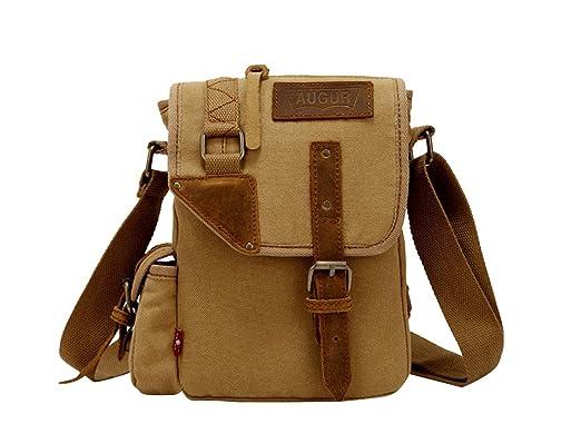 000a37f828 jeansian Fashion Homme Sacoche Besace Loisirs Sacs Men's Womens Unisex  Canvas Messager Hang Bag BG029 Khaki