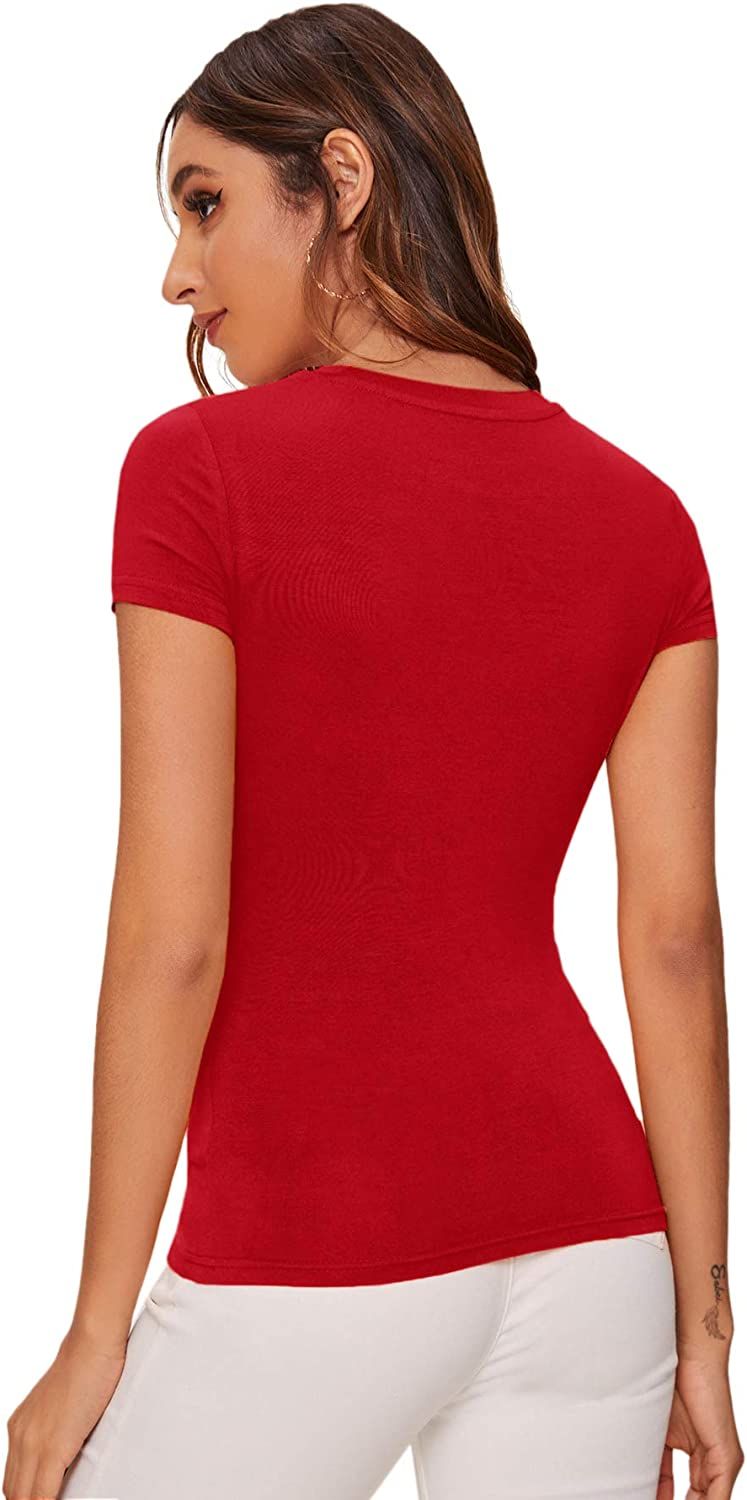 SheIn Women's Solid Basic Tee Round Neck Short Sleeve Slim Fit T-Shirt Tops at  Women's Clothing store