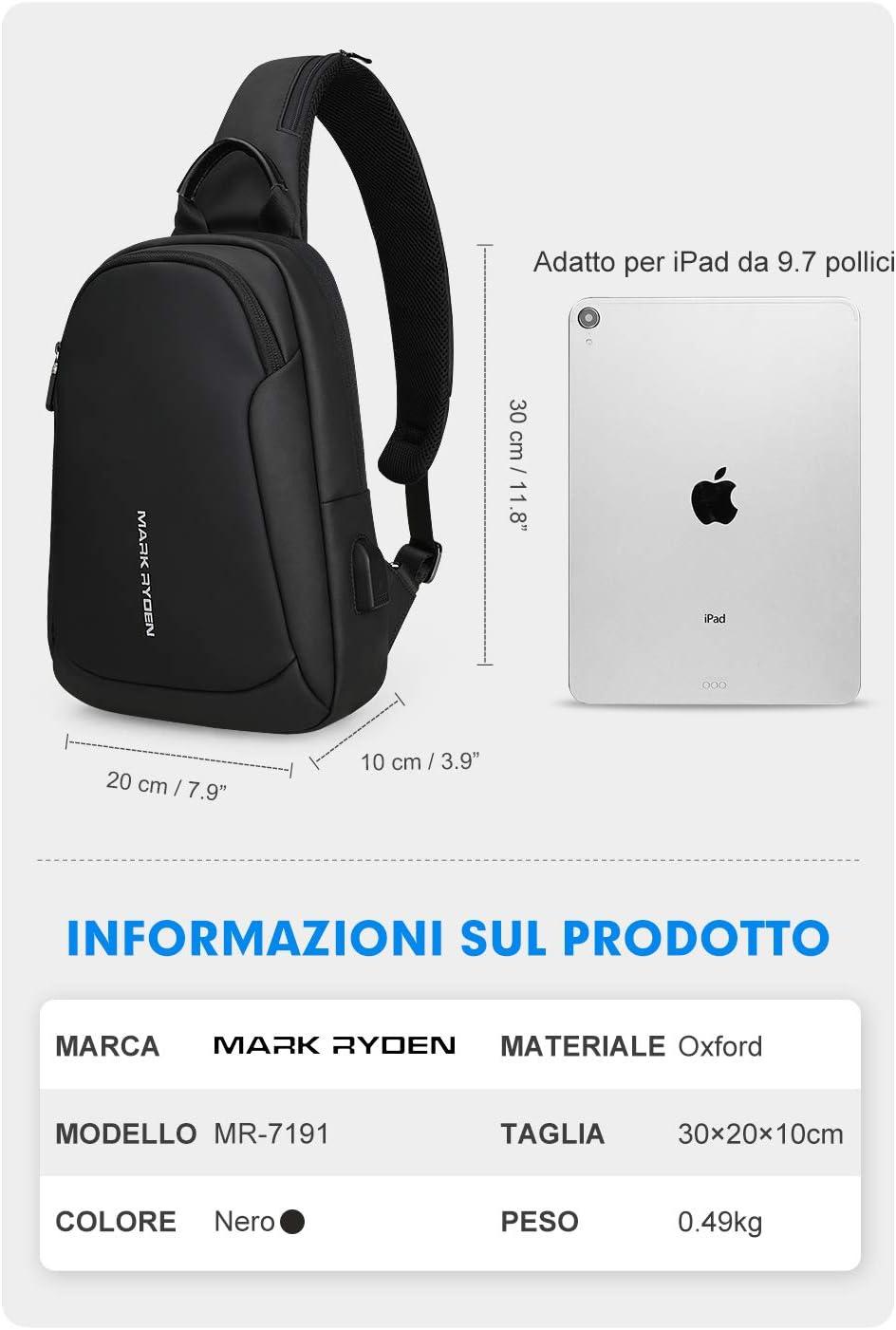 MARK RYDEN Anti-Diebstahl-Schlinge Chest Bag Handtasche f/ür M/änner Wasserdicht Crossbody Reise Umh/ängetasche Fit f/ür 9,7 ipad