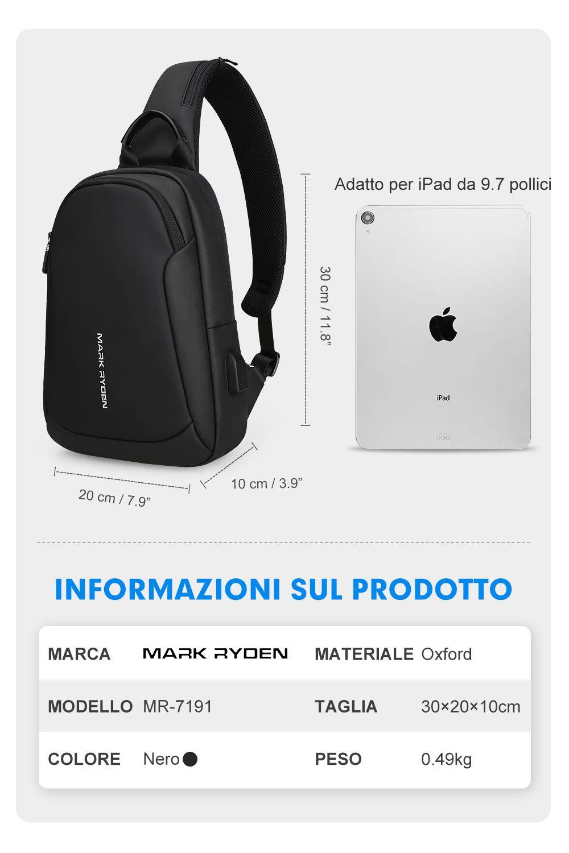 Mark Ryden Water-Proof Sling Chest Bag Handbag for Men Waterproof Crossbody Travel Shoulder Bag Fit for 9.7 ipad