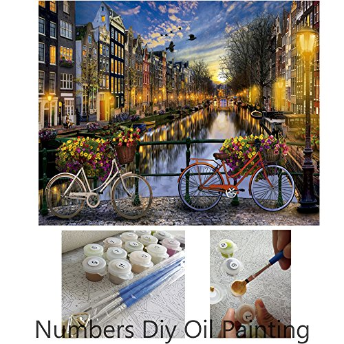 Amsterdam Oil - Aksuo Paint by Numbers Kits Diy Canvas Oil Painting for Kids, Students, Adults Beginner - Love in Amsterdam 16 x 20 inch with Brushes and Acrylic Pigment(With Framed)