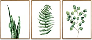 Hepix Succulent Wall Art Green Leaves Canvas Wall Paintings Tropical Framed Stretched Wall Artwork for Living Room Decor and Modern Home Decorations 13 X 17 inch X 3PCS