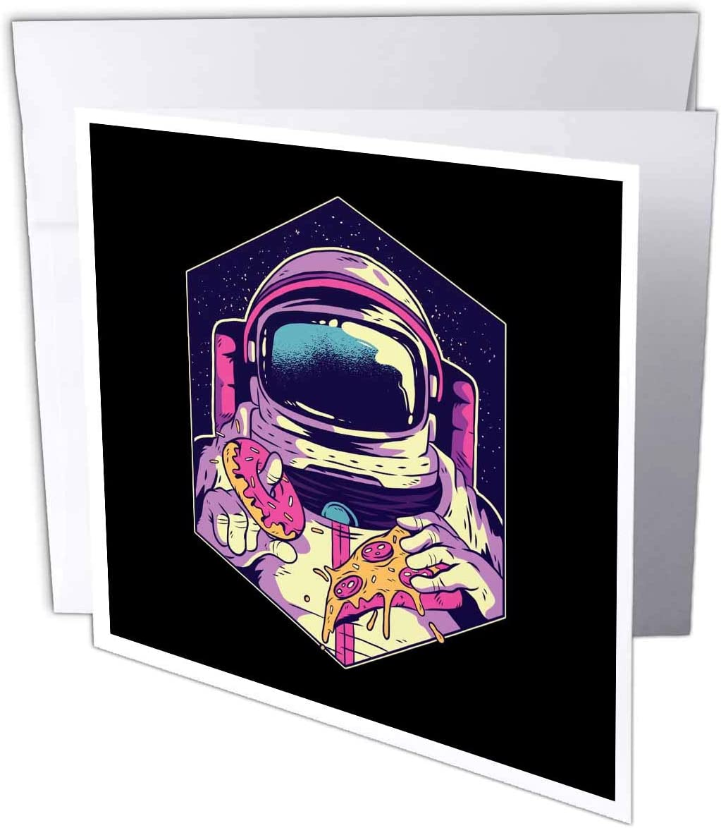 3dRose Sven Herkenrath Fantasy - Illustration Design with Astronaut and Pizza Food Sweet - 6 Greeting Cards with envelopes (gc_306912_1)