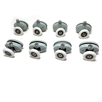Juego de 8 rodamientos para mampara de ducha, corredizas, ruedas de 23 mm de diámetro, Roller diameter 23mm: Amazon.es: Hogar