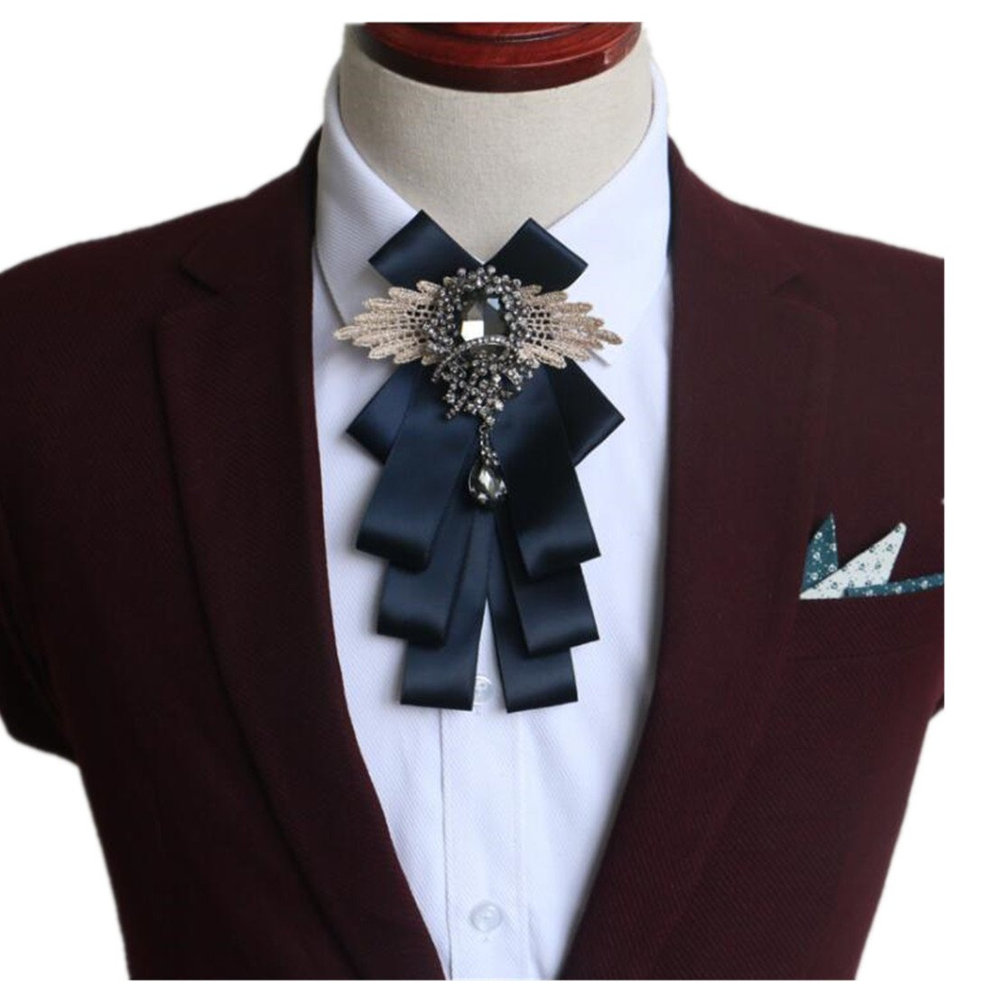 FUMUD Men Bow Tie groom's Clothing Accessories Solid Color Gentleman Shirt Neck Tie Bowknot Diamond Grid Decor Wedding Gift (1#)