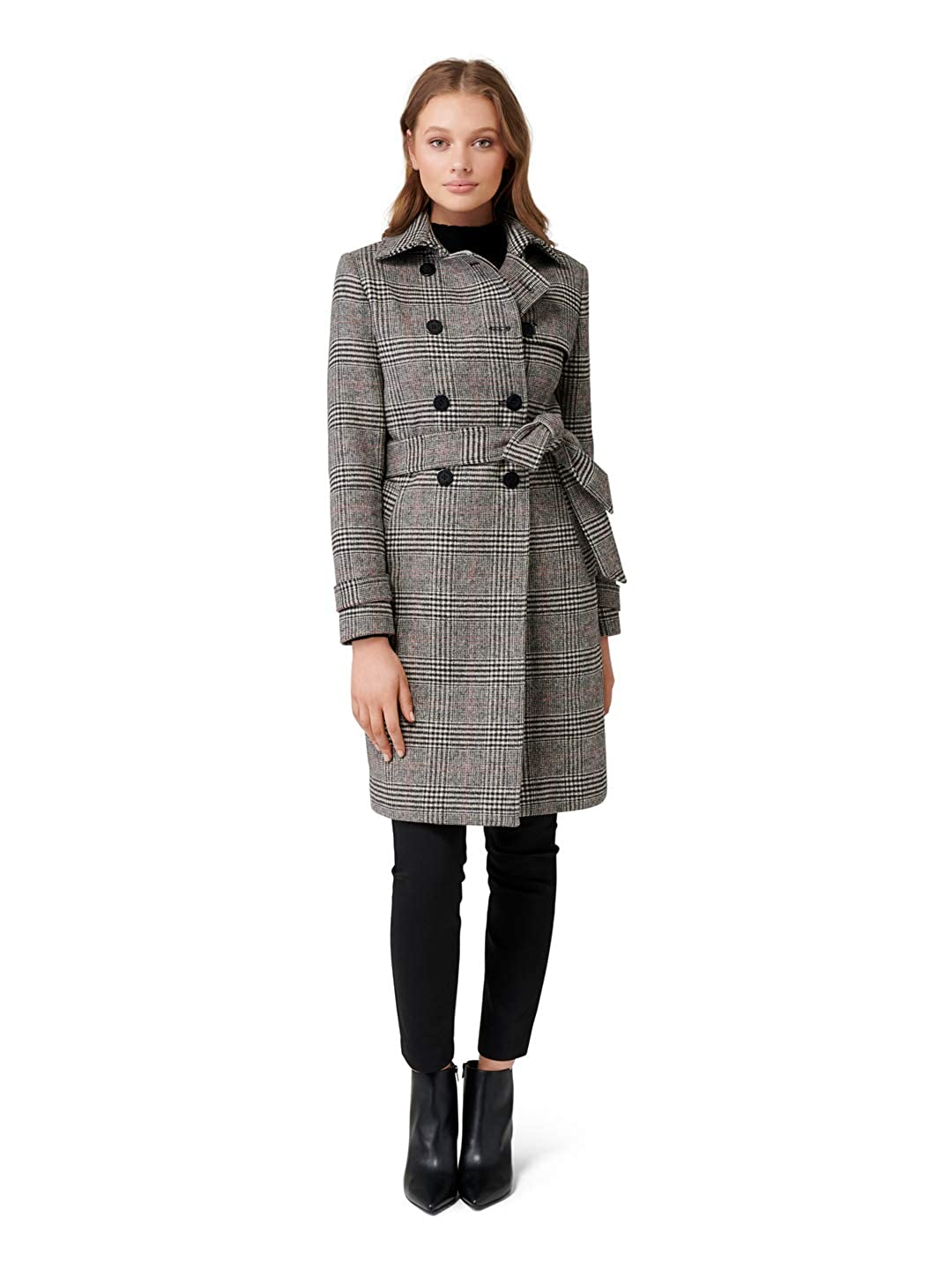 Check Ever New Womens Emery Check Wool Trench