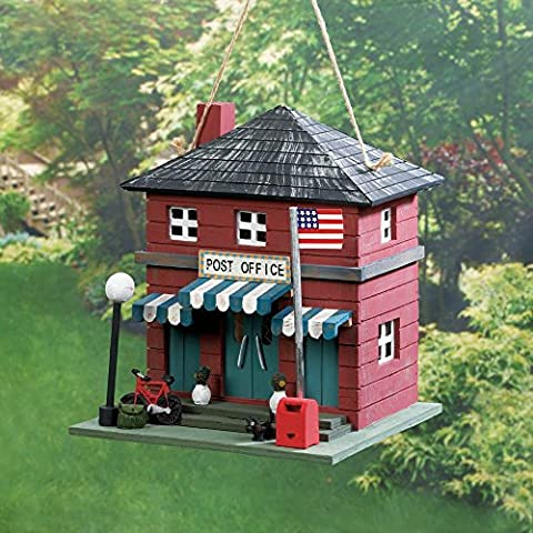 Wood Post Office Birdhouse Red Decorative Mailbox (Bird Post)