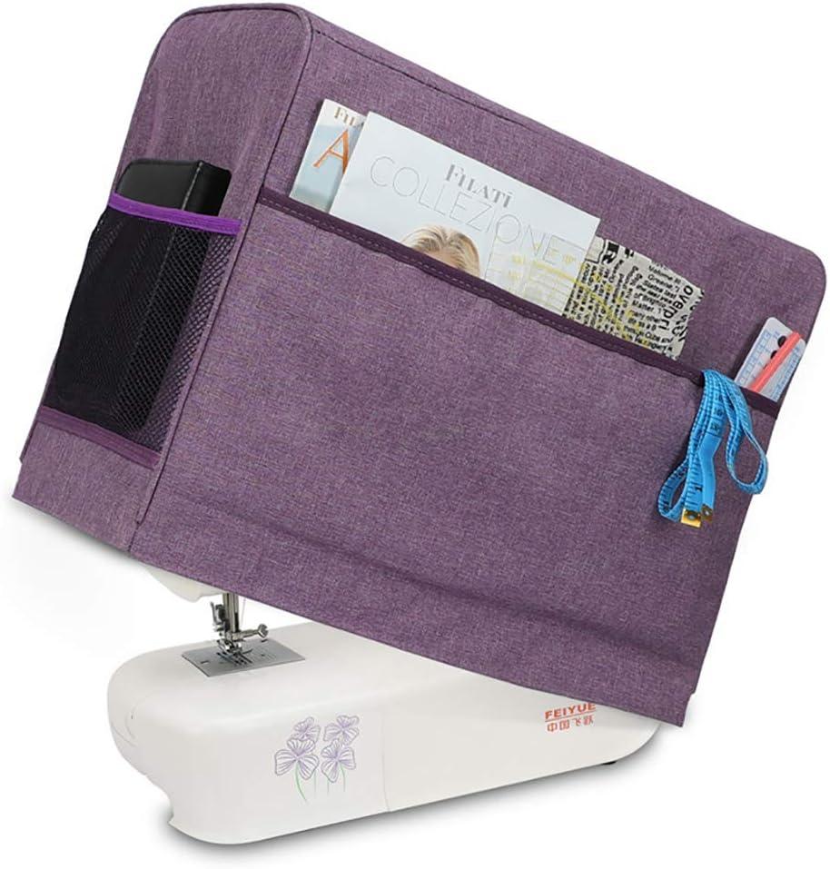 Cubierta protectora para máquina de coser con bolsillos de almacenamiento para máquina de coser y accesorios adicionales, compatible con la mayoría de máquinas Singer y Brother estándar #3983 morado