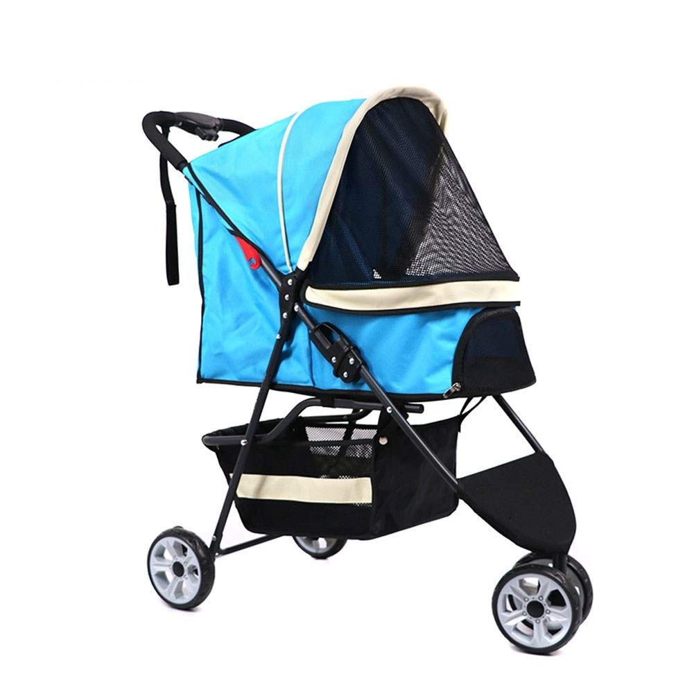 bluee 3 wheels bluee 3 wheels Dog Pushchair, Stroller Pram Carrier Cart Cat Portable Out Roadster For Puppy Senior Dog 3 4 Wheels Travel Jogger Max (color   bluee, Size   3 wheels)