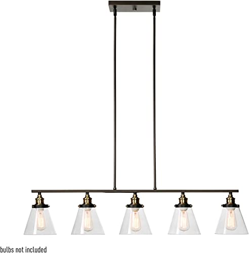 Globe Electric 64934 Jackson 5-Light Linear Pendant, Bronze, Oil Rubbed Finish, Antique Brass Accent