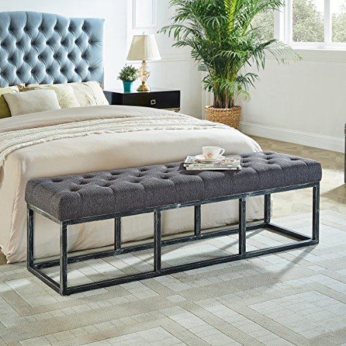 Upholstered Tufted Long Bench with Metal Frame Leg, Ottoman with Padded Seat-Dark Gray (Seat Window Ottoman)