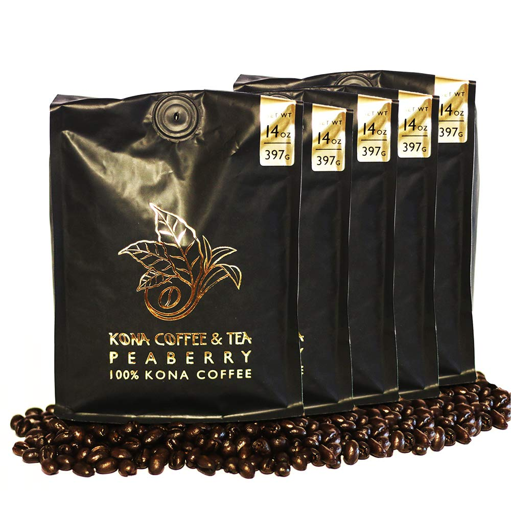 Peaberry (5-14oz Bags) - 100% Kona Coffee : FIRST PLACE WINNER 2018 Kona Coffee Cultural Festival's Crown Division • Single Estate • • 2-Day FedEx