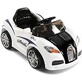 RIGO Kids Bugatti Inspired Ride On Toy Car 12V Battery Remote Control-Black and White