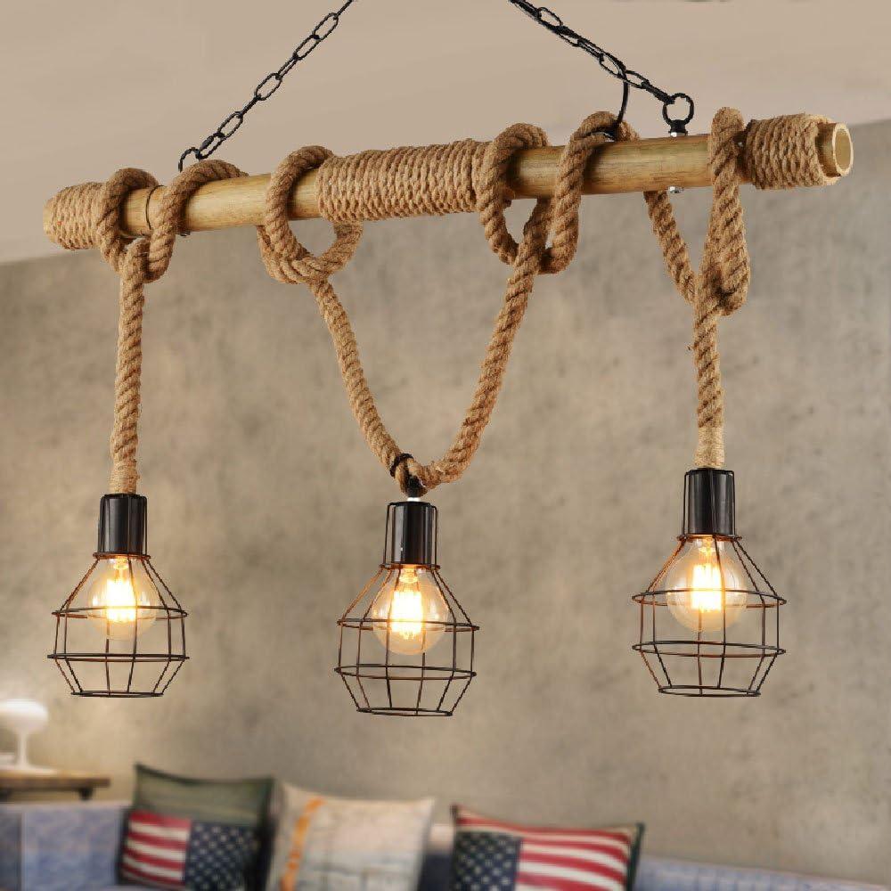Hines 3 luces de bambú retro creativo tejido a mano cuerda de cáñamo Araña industrial Lámpara de metal de hierro Lámpara colgante Lámparas y linternas de marihuana vintage Cadena de luz de techo ajust