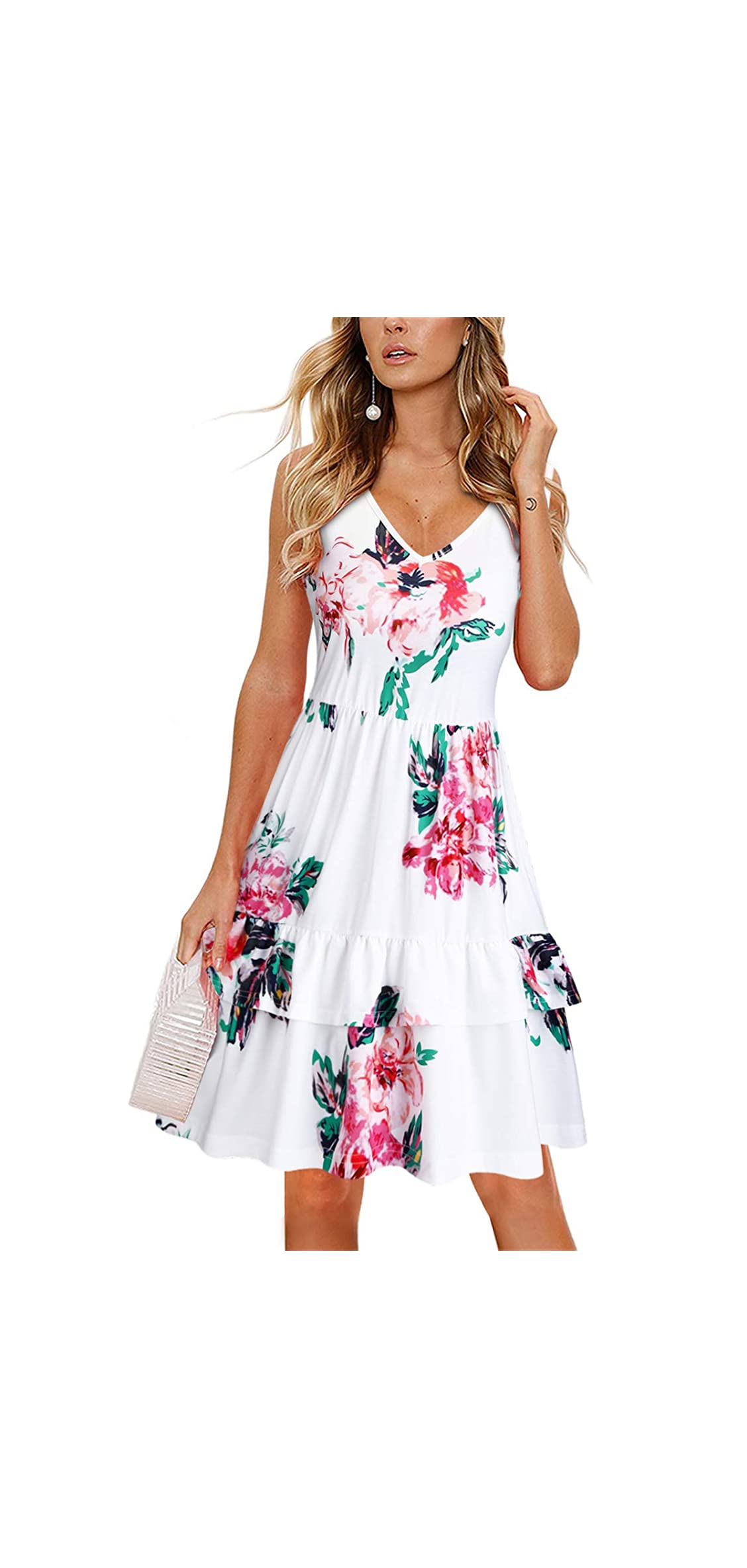 Women's V Neck Floral Print Sleeveless Summer Dress Ruffle