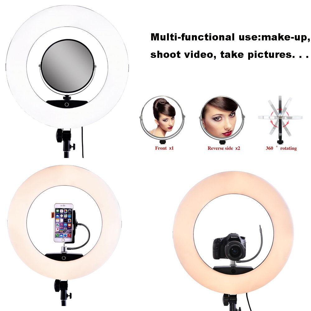 Yidoblo 96W 18'' LED Ring Lights Kit FD-480 with Makeup Mirror,Light Stand,Camera Phone Holder & Carrying Bag,Dimmable Bi-Color Lighting for Photo Studio Video Portrait Film Selfie YouTube Photography by yidoblo (Image #1)