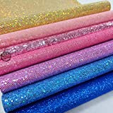 ZAIONE 7 pcs A4 (8'' x 12'') Sheet Colorful Sparkle Chunky Mixed Glitter Vinyl Faux Fabric Craft Leather Sew For Shoes Bag Sewing Patchwork DIY Craft Applique (Mixed Glitter-Macarons Series)