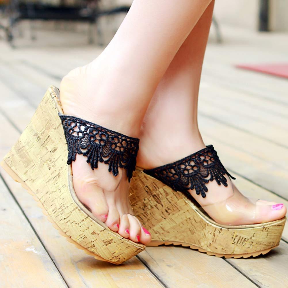 KingRover Womens Retro Espadrille Transparent Wedge Sandals Classic Slip on Summer Slipper