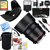 Rokinon (DS85M-NEX) DS 85mm T1.5 Full Frame Cine Lens for Sony E Mount + 64GB Ultimate Filter & Flash Photography Bundle