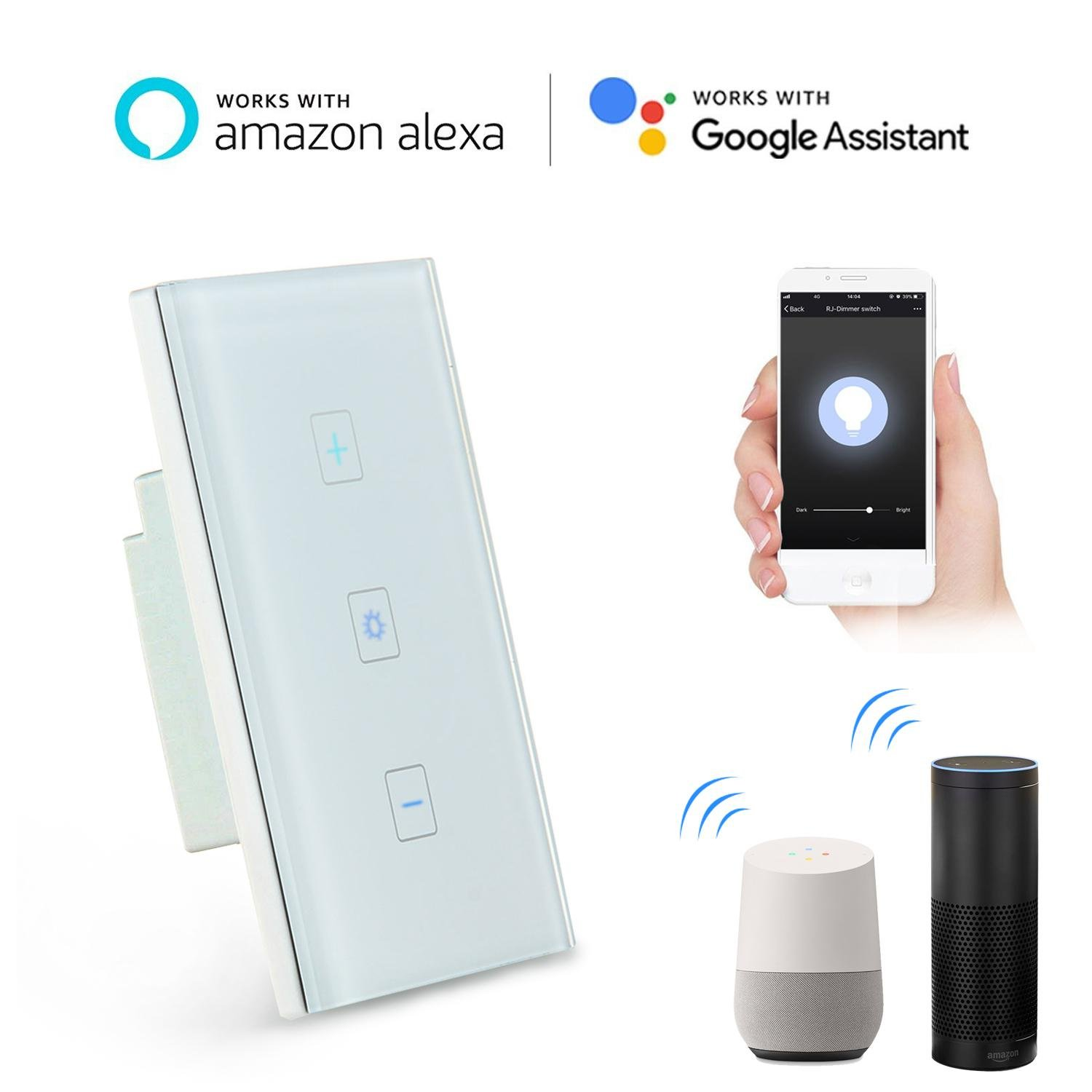FOONEE Wifi Dimmer Switch, Home Decoration Smart Dimmer Switch with Alexa, Google Home Touch Switch Outlet Wifi Smart Lighting Control for Bedroom, Kitchen, Living Room(Neutral Wiring Required)
