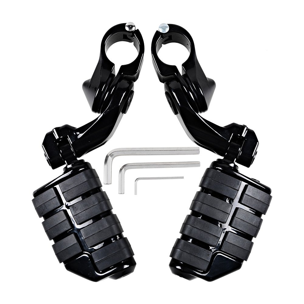 Black CNC Machined 1.25 Short Angled Adjustable Highway Peg Mount Clamp Kit w// Footpegs for Harley Touring Models