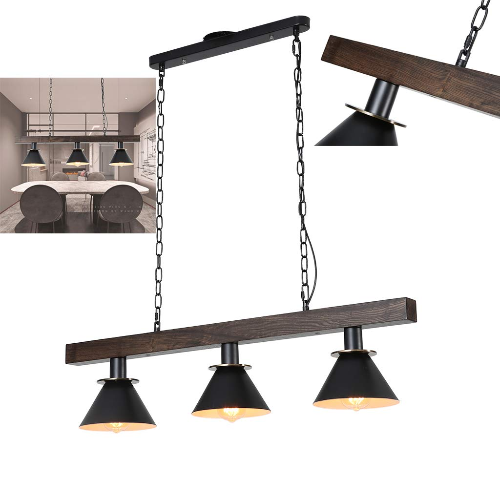 Rustic Wood Beam Industrial Hanging Ceiling Light, Eoyemin Lighting Hanging Ceiling Fixture Kitchen Island Lighting Natural Reclaimed Wooden Style Pendant Lighting E26x3 Lights