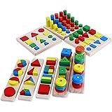 Highdas Holz Montessori Lehr 8pcs Set Verschiedene Geometrische Form Sorter Rätsel Brett Baustein-Spielzeug Regenbogen -Ziegelstein -Spielzeug für Bildungs Ausbildung Lehre